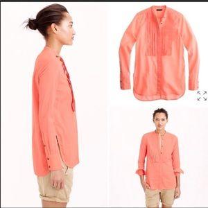J. Crew 8 grosgrain ribbon shirt in neon coral